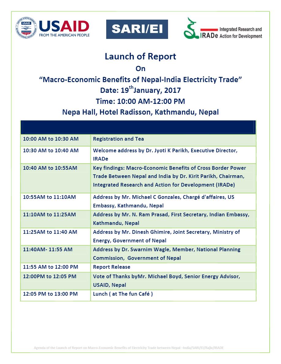 Final-Agenda-Pdf-Launch-of-Report-on-Macro-Economic-Benefits-of-Neapl-India-Electricity-Trade-19th-Jan-2017-Nepal-Hall-Hotel-Radisson-Kathmandu-Nepal-Rajiv