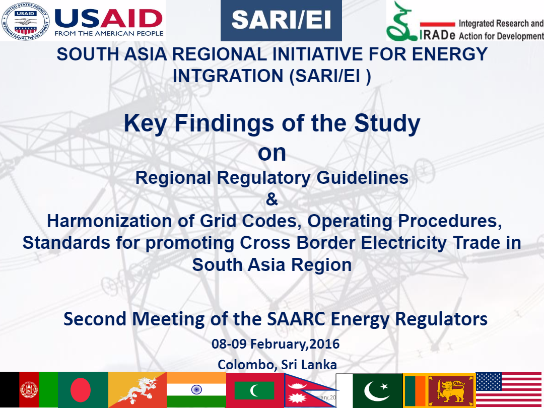 Regional-Regulatory-Guidelines-and-Harmonization-of-Grid-Codes-2nd-SAARC-Regulators-Meeting-08-09-February2016-Rajiv-Ratna-Panda-