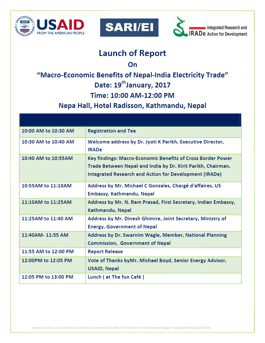 Final-Agenda-Pdf-Launch-of-Report-on-Macro-Economic-Benefits-of-Neapl-India-Electricity-Trade-19th-Jan-2017-Nepal-Hall-Hotel-Radisson-Kathmandu-Nepal-Rajiv