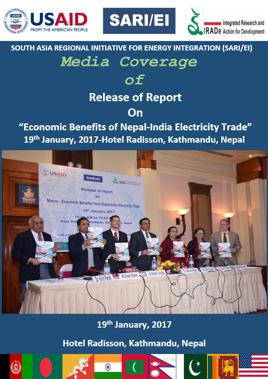 Media-News-Paper-Coverage-of-Report-and-Release-event-of-Report-On----Economic-Benefits-of-Nepal-India-Electricity-Trade----19th-January-2017-Hotel-Radisson-Kathmandu-Nepal-Rajiv