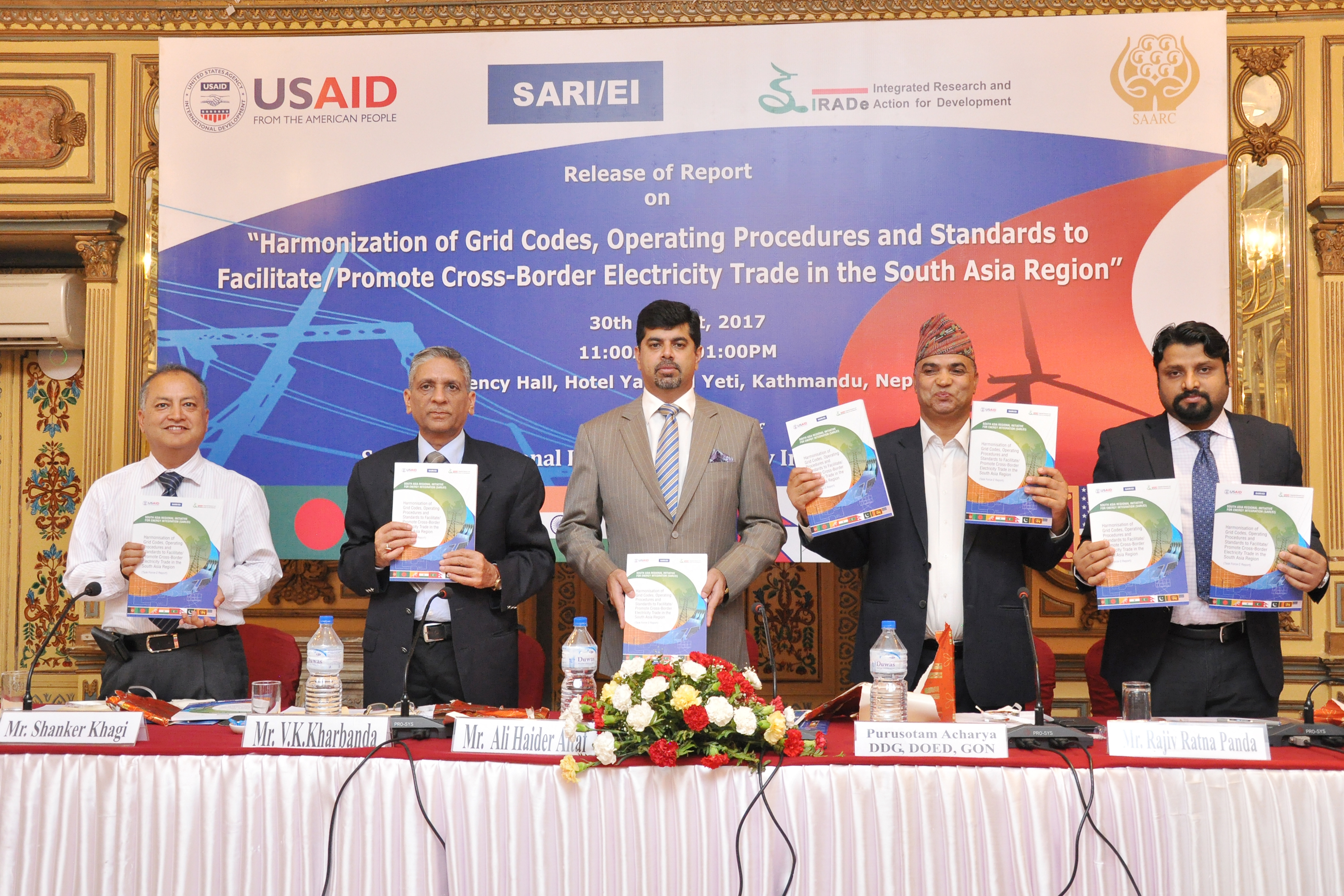 """Release of Report On """"Harmonization of Grid Codes, Operating Procedures and Standards to facilitate/promote Cross-Border Electricity Trade in the SA Region"""" 30th August, 2017 ,Hotel Yak & Yeti, Kathmandu, Nepal"""