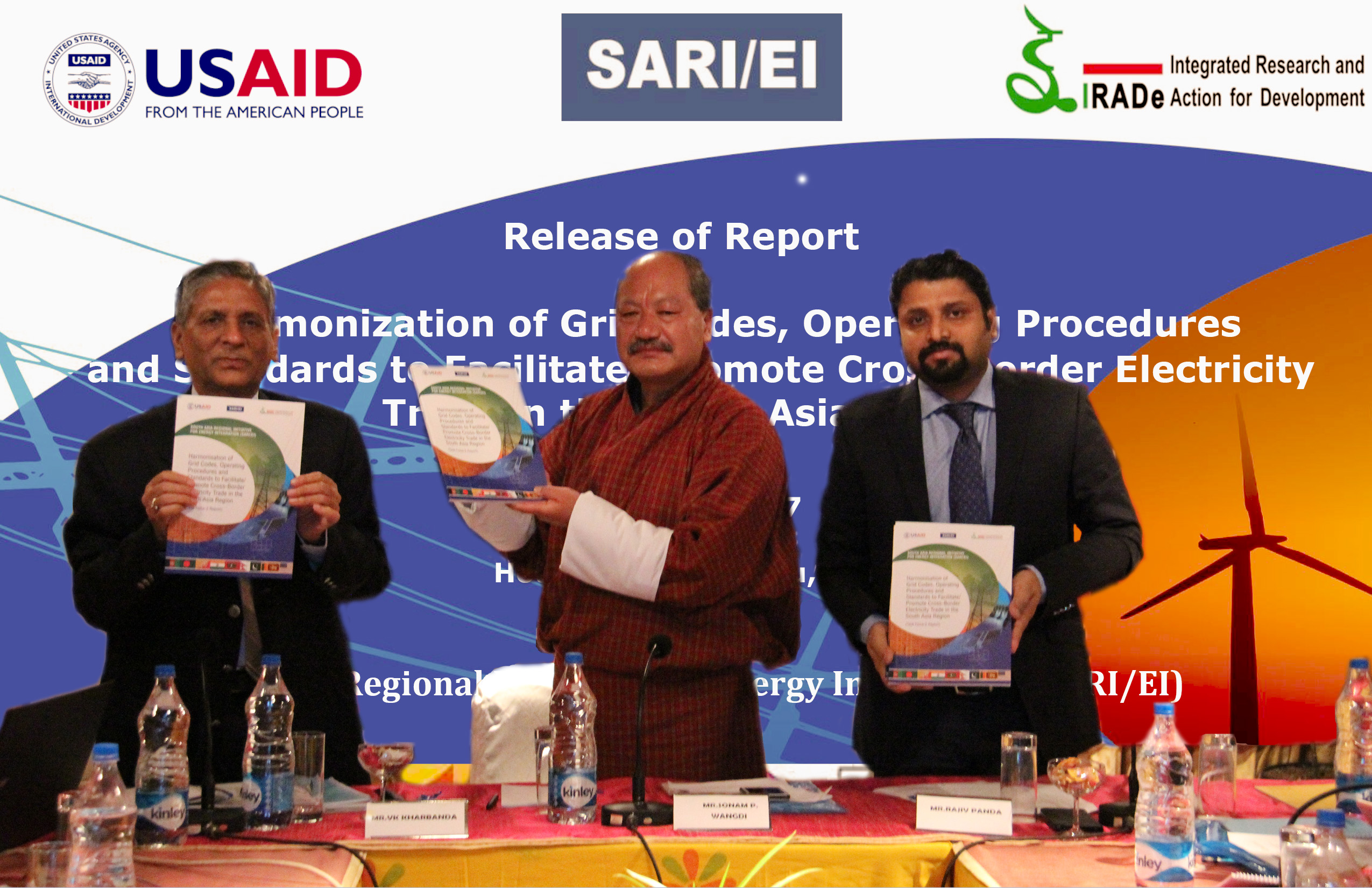 """Release of Report On """"Harmonization of Grid Codes, Operating Procedures and Standards to facilitate/promote Cross-Border Electricity Trade in the SA Region"""" 4th October, 2017 ,Hotel Druk, Thimphu, Bhutan"""