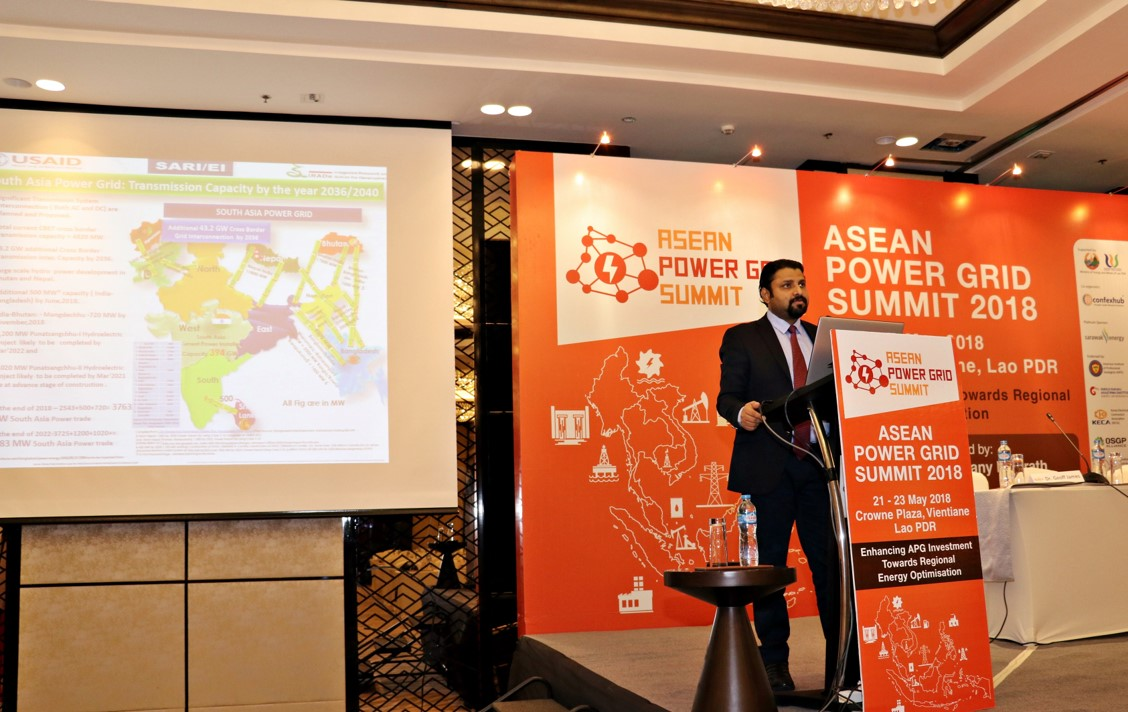 """SARI/EI Participation in the """"ASEAN Power Grid Summit 2018- Enhancing APG Investment Towards Regional Energy Optimization""""-Hotel Crowne Plaza 22 – 23 May 2018 Vientiane, the Lao People's Democratic Republic (Lao PDR) - Plenary Address on"""
