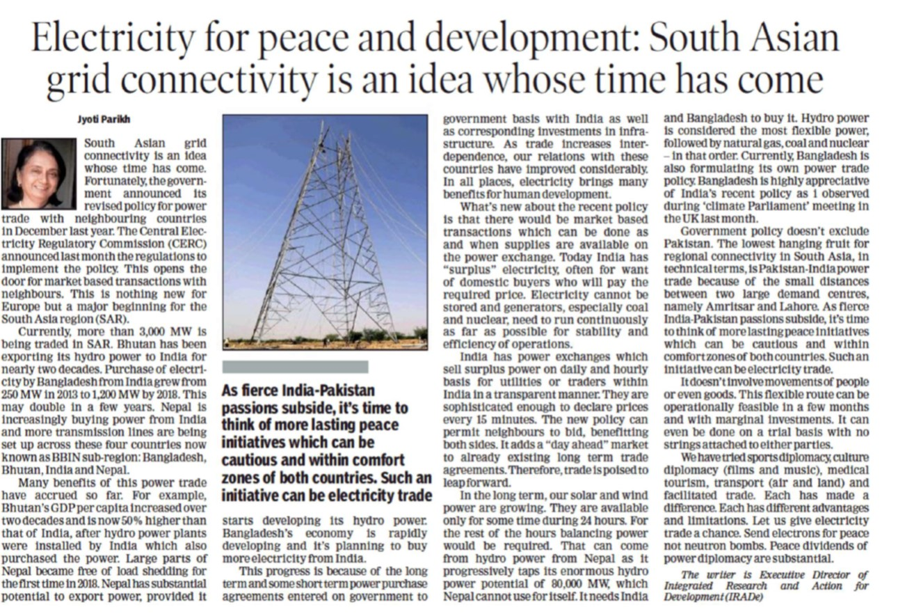 Electricity for peace and development South Asian