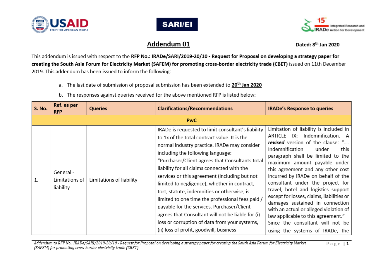 Addendum 01 - RFP No.: IRADe/SARI/2019-20/10 - Request for Proposal on developing a strategy paper for creating the South Asia Forum for Electricity Market (SAFEM)