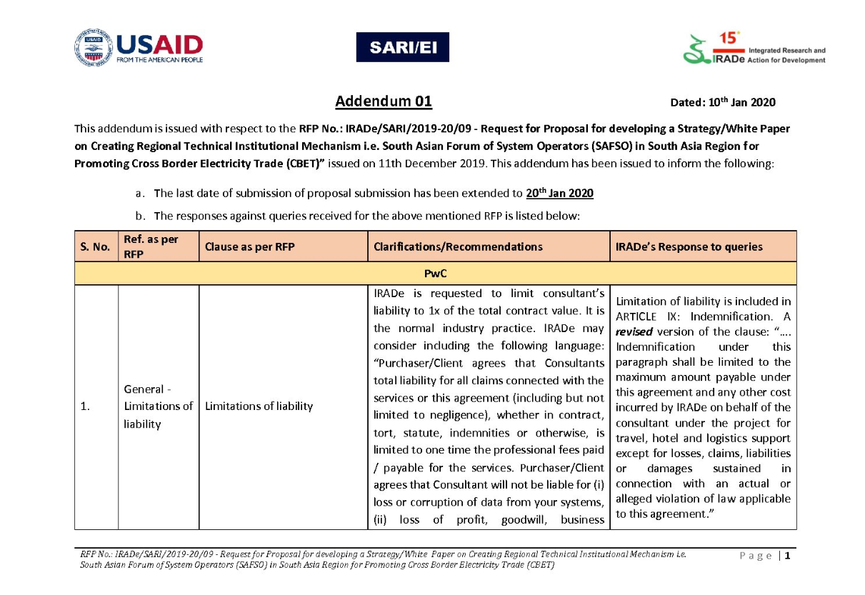 Addendum 01 - RFP No.: IRADe/SARI/2019-20/09 - Request for Proposal for developing a Strategy/White Paper on Creating Regional Technical Institutional Mechanism i.e. South Asian Forum of System Operators (SAFSO) in South Asia Region for Promoting Cross Border Electricity Trade