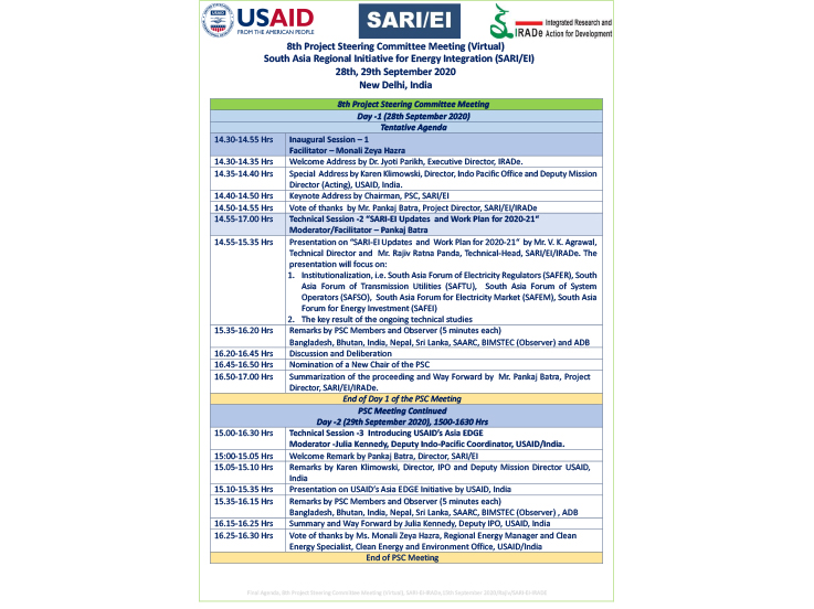 Agenda of 8th Project Steering Committee Meeting (Virtual), 28th & 29th September 2020, New Delhi, India