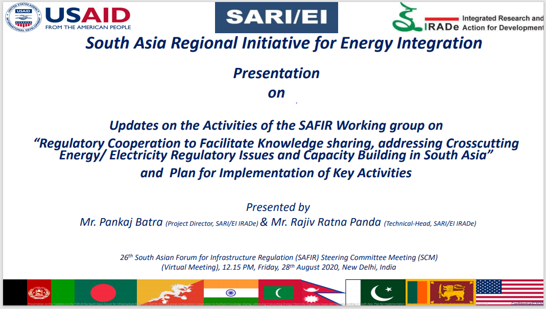 """""""Regulatory Cooperation to Facilitate Knowledge sharing, addressing Crosscutting Energy/ Electricity Regulatory Issues and Capacity Building in South Asia"""" and Plan for Implementation of Key Activities"""