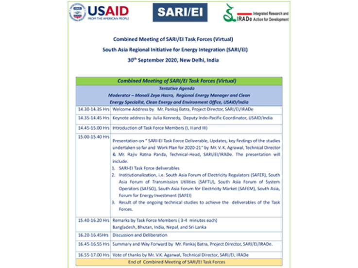 Agenda of Combined Meeting of SARI/EI Task Forces (Virtual), SARI/EI,30th September 2020, New Delhi, India
